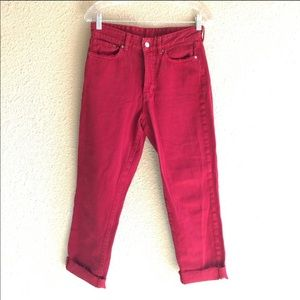 &Denim vintage fit high waist red denim jeans